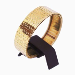 Italian Wide Bracelet in 14 kt Gold with the Pattern of Harlequin