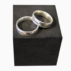 Engagement Ring in 925 Sterling Silver and One with a Brilliant, Set of 2