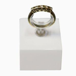 Alliance Gold Ring in 14kt with 5 Brilliant-Cut Diamonds Engraved F.M.