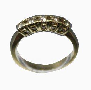 Bague Alliance Dorée en Or 14 Carats avec 5 Diamants de Taille Brillante Gravé