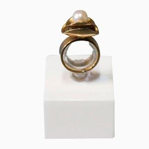 Anillo de oro de 14 k con abalorios de HO