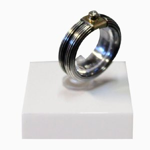 Ring with Oxidized Silver with 0.5 kt Brilliant Gold Sockets