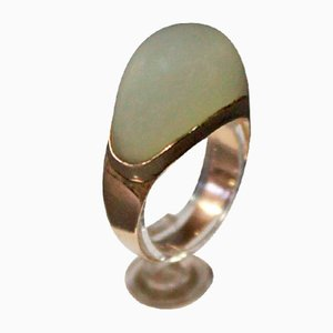 8k Gold Ring with Cabochon Milled Moon Stone