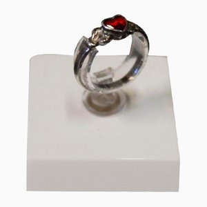 Children's Ring in 835 Silver with a Small Red Heart