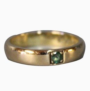 Bague Simple en Or Rouge 18 Ktat avec Fine Emeraude Verte