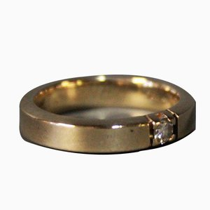 Bague Simple en Or 14 Carats avec un Petit Diamant