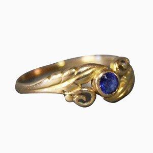 14 k Gold Ring mit Saphirglas