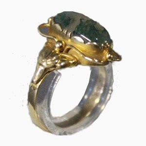 14k Gold Ring with Green Stone