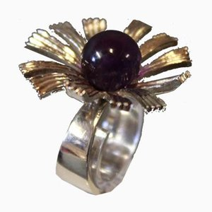 Ring in Sterling Silver 925 with Purple Stone by M.P.Christoffersen for MPC