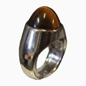 925 Sterling Silver Ring with Tiger's Eye by M.P.Christoffersen for MPC