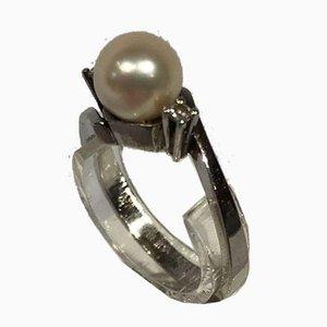 Pendule en Or Blanc 14k avec une Fine Perle et 2 Petits Diamants