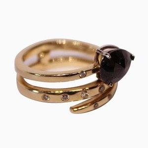 14k Gold Ring with Small Diamonds and Black Stone