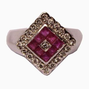 14k White Gold Ring with 0.30 kt Pink Diamond Sapphire and from ERO