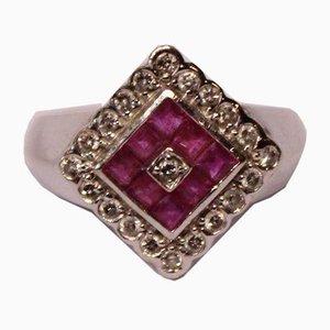 Anello in oro bianco 14 kt con zaffiro a diamante rosa da 0,30 kt e ERO