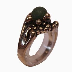 925 Sterling Silver Ring with Green Jade from BK