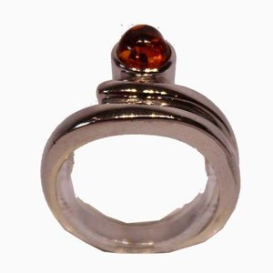 Ring with Amber Stone and 925 Sterling Silver from NP