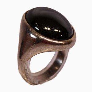 Ring mit großem Blutstein und 925er Sterlingsilber von W