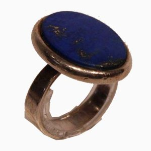 925 Sterling Silver Ring with Big Blue Stone by From