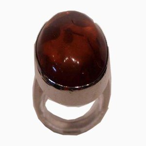 Sterling Silver Ring with Amber F.F