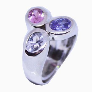 Large 925 Sterling Silver Ring with 3 Synthetic Stones in Bright Purple Colors from B & G