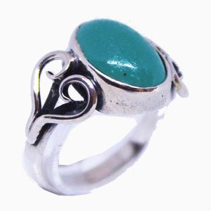 830 Silver Ring with Jade Stones