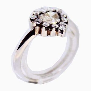 Ring in 14 ct White Gold Decorated with 13 Diamonds of 1,08 Carats