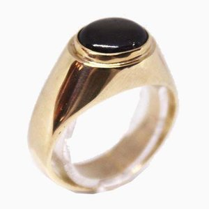 14kt Onyx Gold Ring Decorated with Stones