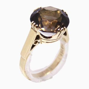 14kt Gold Ring Decorated with a Large Smoky Quartz from ESC P