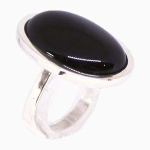 925 Sterling Silver Ring Decorated with Large Black Onyx Stones