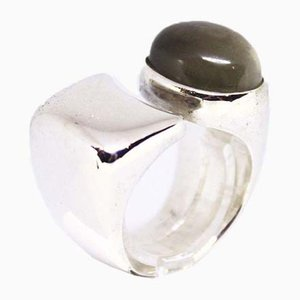 Powerful 925 Sterling Silver Ring Decorated with Green Jade from EIV