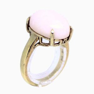 Gold-Plated 925 Sterling Silver Ring Decorated with Pink Stone from Krzi