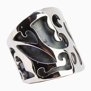 Heavy and Wide 925 Sterling Silver Ring Decorated with Pattern