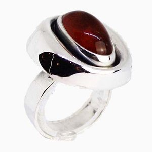 925 Sterling Silver Ring Decorated with Amber from N.E. From