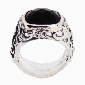 925 Sterling Silver Ring Decorated with a Pattern and Black Onyx from Lund