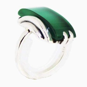 925 Sterling Silver Ring Decorated with Green Jade Stone