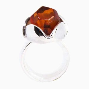 925 Sterling Silver Ring Decorated with Amber from EF