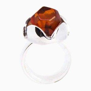 925er Sterlingsilber Ring mit Bernsteinfarbenen Details von EF