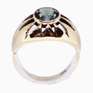 14kt Gold Ring Decorated with Precious Stones in Light Green by B & W
