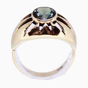Anello in oro 14 kt decorato con pietre preziose verde chiaro di B & W