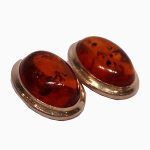 925 Sterling Silver Clip Earrings with Amber, Set of 2