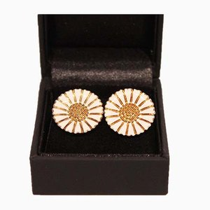 925 Gold-Plated Silver and Enamel Daisy Ear Clips from Bernhard Hertz, Set of 2