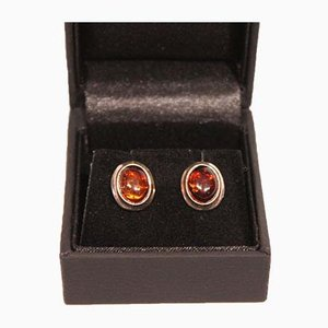 Silver and Amber Ear Studs, Set of 2