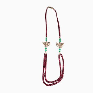Necklace and Earrings Set in Silver Adorned with Numerous Faceted Rubies and Emeralds
