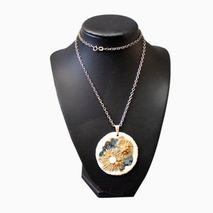 925 Sterling Necklace with Large Round Royal Copenhagen Pendant