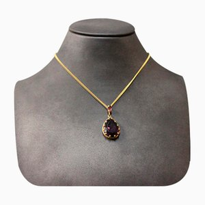 14k Gold Pendant with Large Amethyst