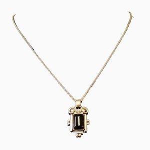 830 Sterling Silber Halskette mit Hängelampe aus schwarzem Onyx Stein von GJ Hoppe