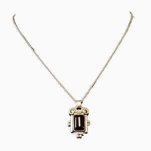 830 Sterling Silver Necklace with Pendant in Black Onyx Stone from G.J. Hoppe