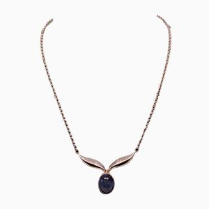Halskette aus 925er Sterlingsilber mit Hängelampe aus Stein von Lapis Lazuli von Alton