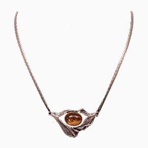 925 Collier en argent sterling avec grand collier pendentif d'ambre par RAV