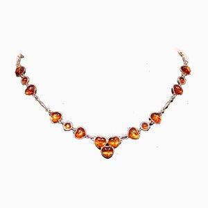 Halskette aus 925 Sterling Silber und Bernsteinfarben